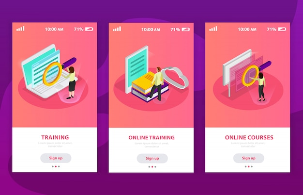 Online learning isometric composition with people using notebooks and smartphones for remote studying Free Vector