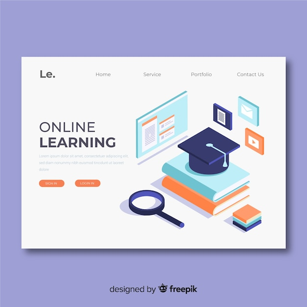 Online learning landing page template Free Vector