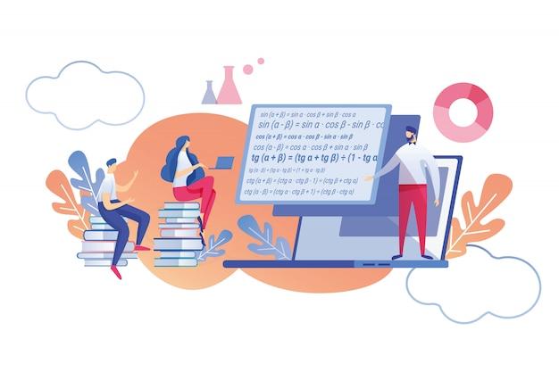 Online learning mathematical discipline flat. Premium Vector