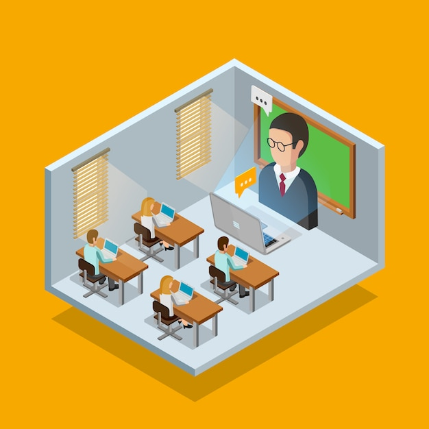 Online learning room concept Free Vector