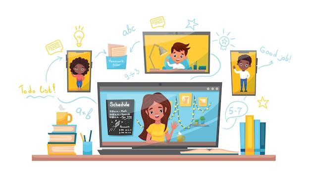 オンライン学習ベクトルストックイラスト。自宅で勉強、オンラインテスト、遠隔教育の概念 Premiumベクター