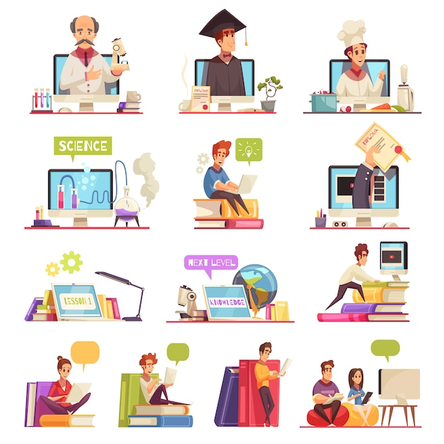 Free Vector Online Learning Video Training Support Official College University Courses Qualifications Diploma 13 Cartoon Compositions Set
