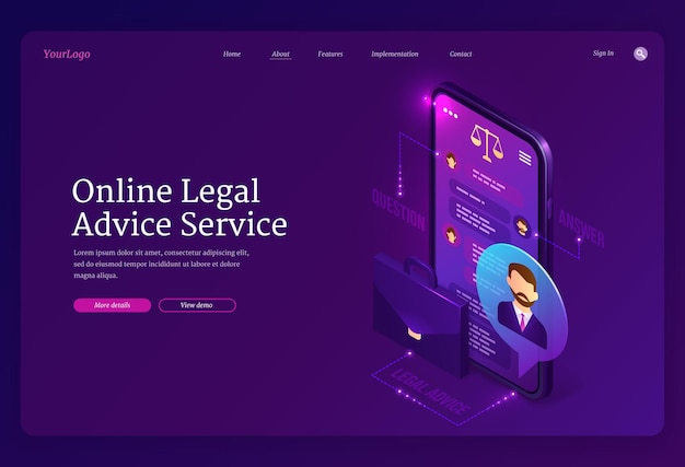 Online legal advice service landing page Free Vector