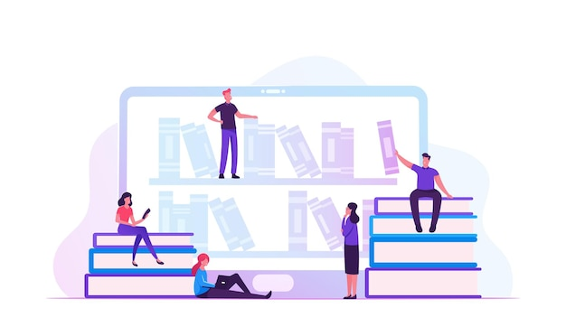 Online library concept. cartoon flat illustration Premium Vector
