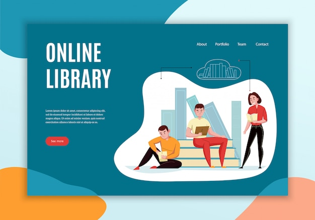 Online library concept website landing page design with people reading books against cloud bookshelves Free Vector