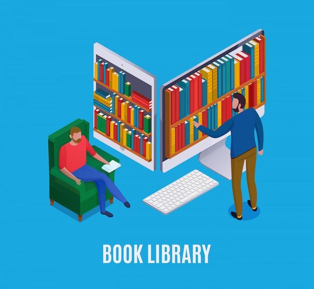 抽象的なコンピューターと青の3 d等尺性の本を選択する男とオンラインライブラリの概念 無料ベクター