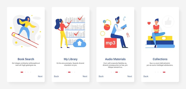 Online library education digital technology mobile app page onboard screen set Premium Vector