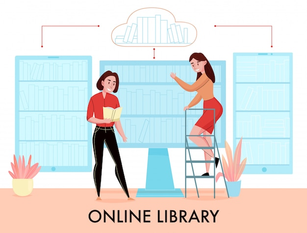 Online library flat composition with women searching book in desktop monitor phone tablet virtual bookshelves vector illustration Free Vector