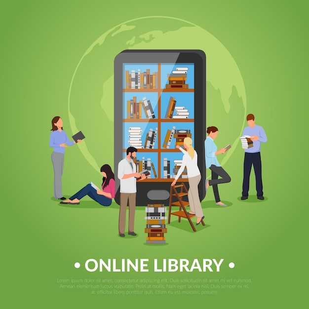 Online library illustration Premium Vector