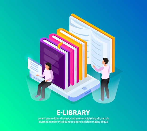 Online library isometric background concept image composition with human characters holographic screens and pile of books Free Vector