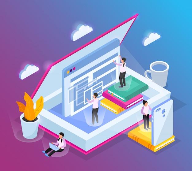 열린 책 컴퓨터 창과 작은 사람들 문자의 개념적 이미지와 온라인 라이브러리 아이소 메트릭 구성 무료 벡터