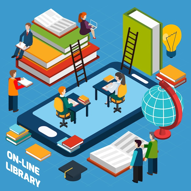 Online library isometric concept Free Vector
