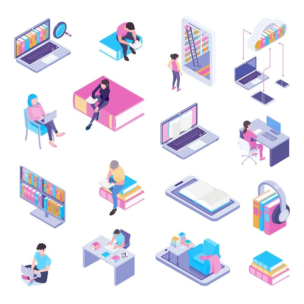 Online library isometric elements collection with laptop electronic catalog web page user headphones Free Vector