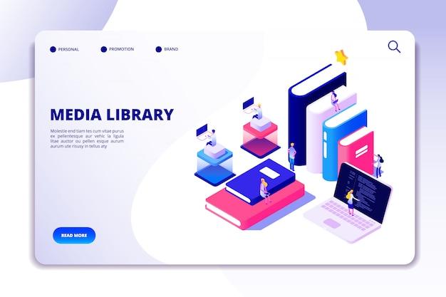 Целевая страница онлайн-библиотеки. студенты в библиотеку, учебники. ebook технологии чтения образования вектор изометрической концепции Premium векторы