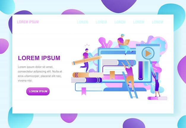 Online library landing page vector template Premium Vector