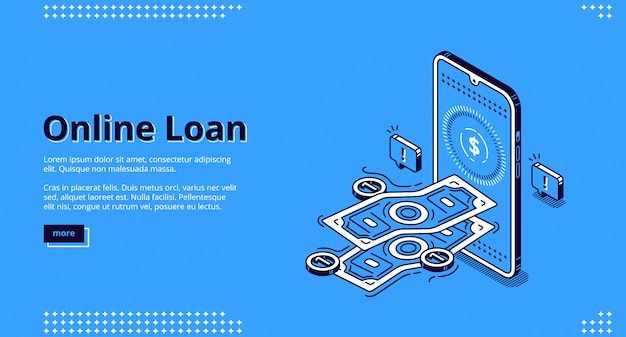Online loan banner. financial lending by mobile application or computer. Free Vector