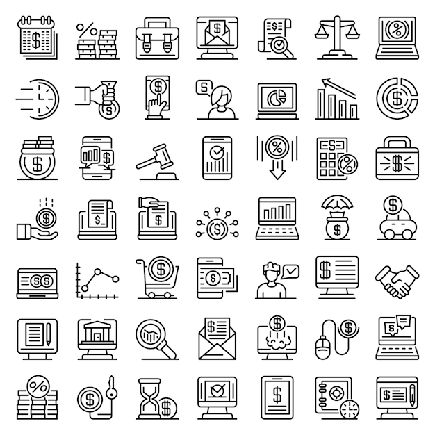 Online loan icons set, outline style Premium Vector