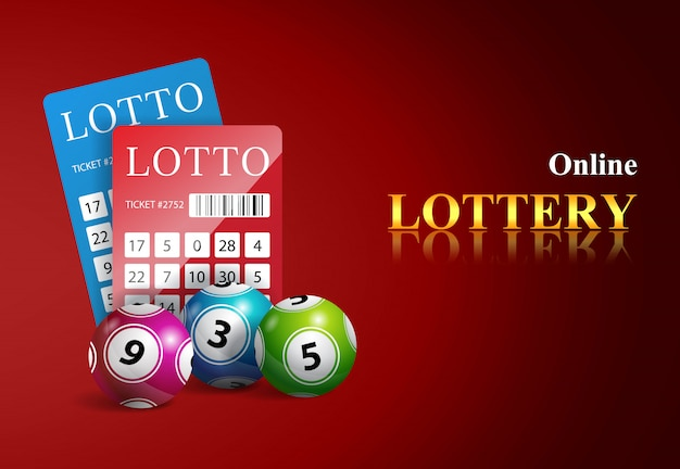 Online lottery lettering, tickets and balls. casino business advertising Free Vector
