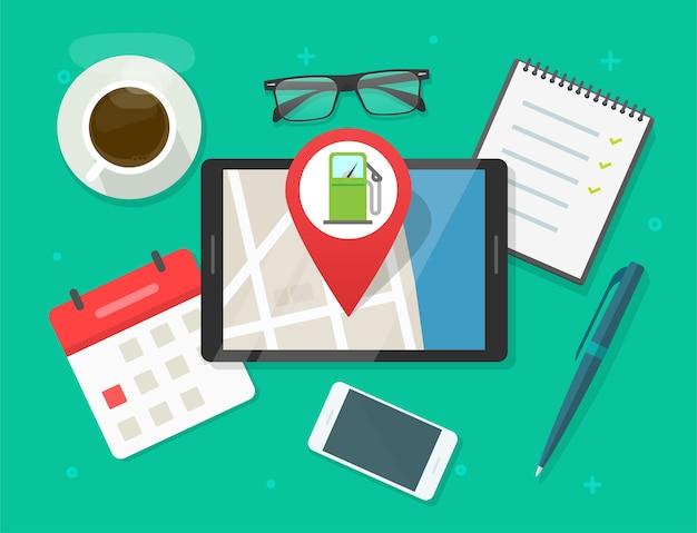 Онлайн-карта и приложение для навигации по бензозаправочной станции на цифровом планшете, расположение города для бензинового топлива Premium векторы