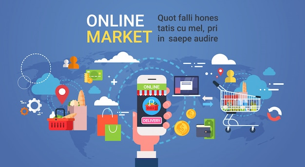 Online market hand holding smart phone ordering products grocery shopping and food delivery concept Premium Vector