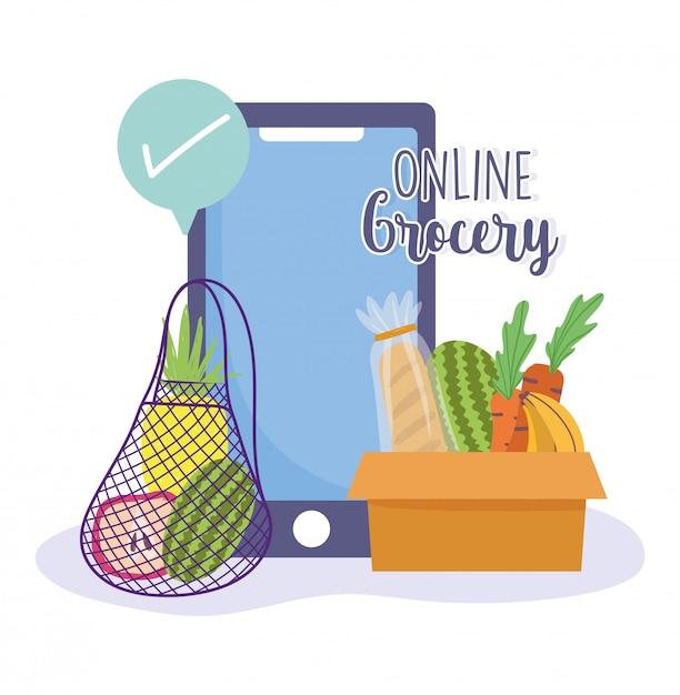 Интернет-магазин, смартфон, галочка, заказ продуктового магазина, доставка еды на дом Premium векторы
