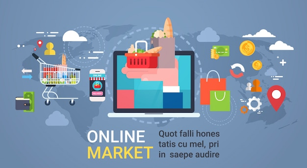 Online market with hand holding bag full of products from laptop computer, grocery shopping and food delivery concept Premium Vector