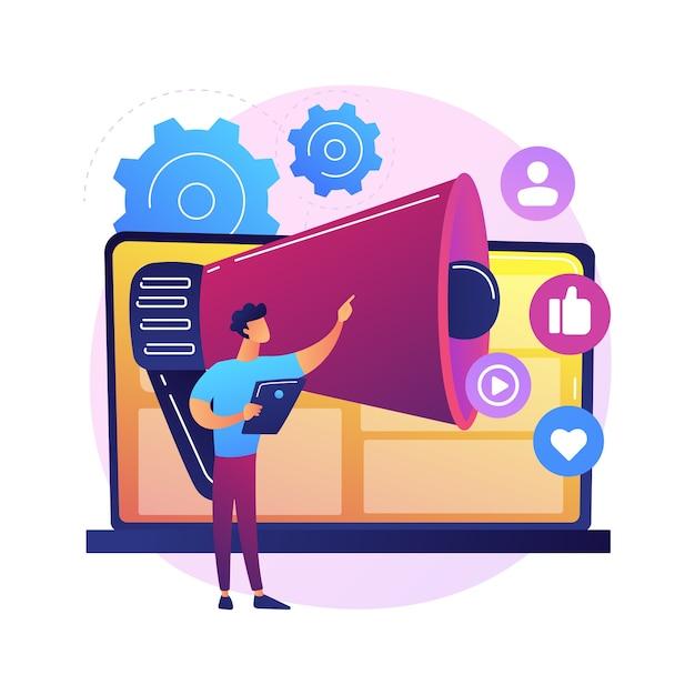 온라인 마케팅 추상적 인 개념 그림입니다. 디지털 마케팅, 온라인 판매, 소셜 미디어 전략, seo 최적화, 전자 상거래, 대행사 서비스, 인터넷 광고 무료 벡터