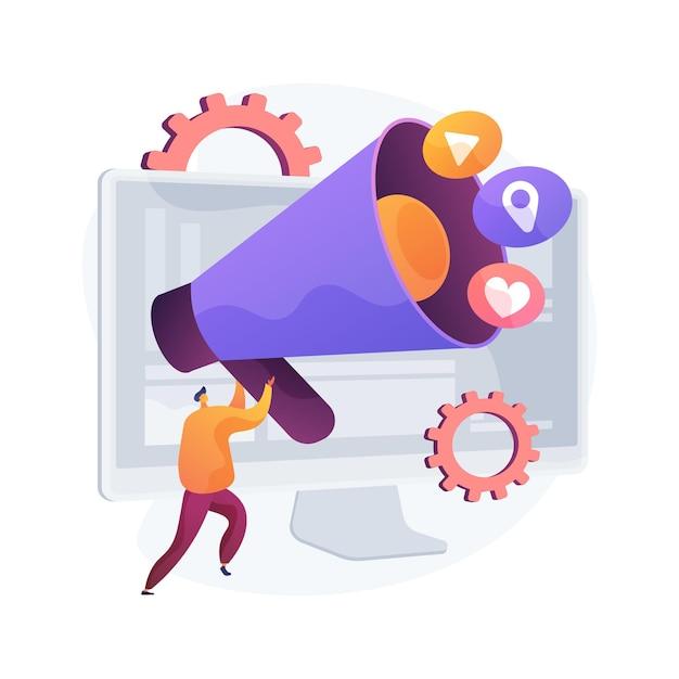 Illustrazione di vettore di concetto astratto di marketing online. marketing digitale, vendite online, strategia sui social media, ottimizzazione seo, e-commerce, servizio di agenzia, metafora astratta della pubblicità su internet. Vettore gratuito