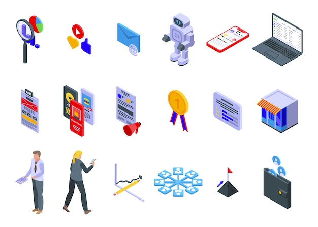 オンラインマーケティングのアイコンを設定します。白い背景で隔離のウェブのオンラインマーケティングアイコンの等尺性セット Premiumベクター