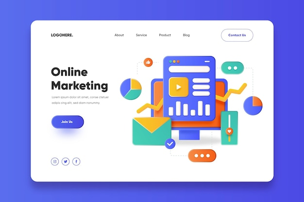 Online marketing landing page template Free Vector