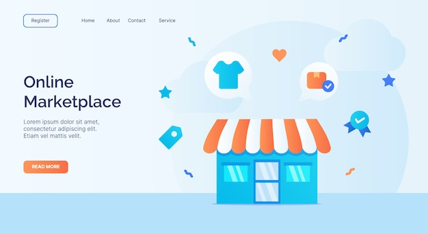 Online marketplace exterior facade store icon campaign for web website home homepage landing template banner with cartoon flat style. Premium Vector