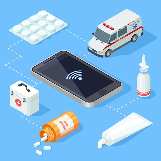 Интернет медицинское приложение для оказания первой помощи изометрической вектор Premium векторы