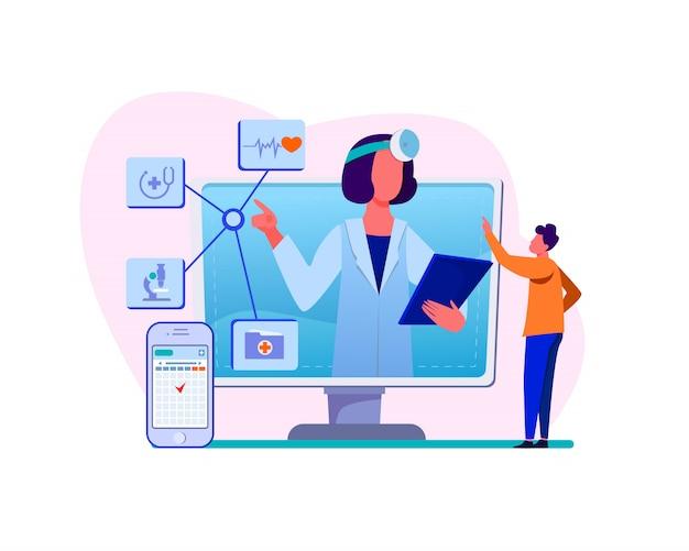 オンライン医療支援の図 無料ベクター