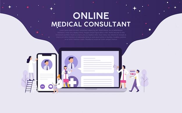 Online medical consultant Premium Vector
