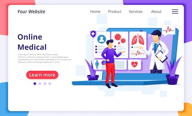 Онлайн концепция медицинской диагностики, онлайн иллюстрация медицинской помощи. шаблон оформления целевой страницы сайта Premium векторы