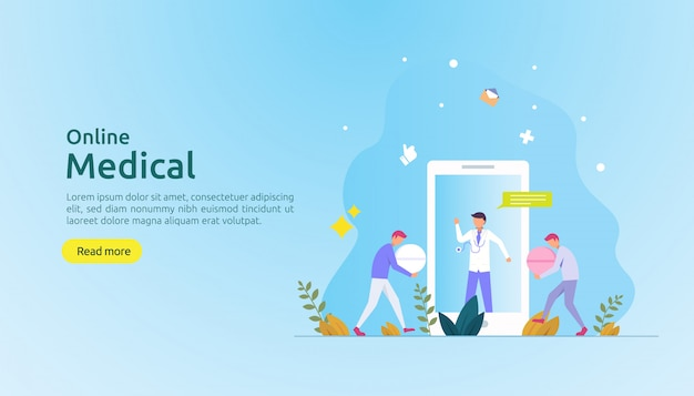 Online medical support advice or doctor health care service concept with people character Premium Vector