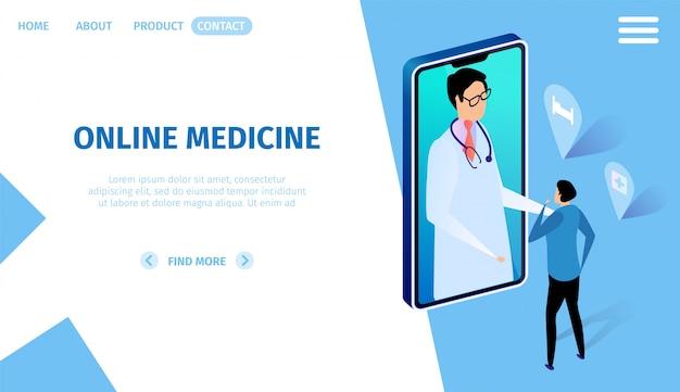 Online medicine horizontal banner. consultation. Premium Vector