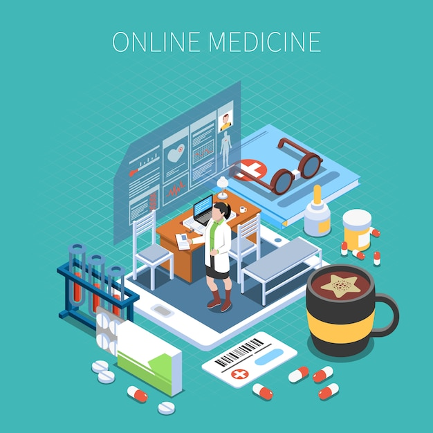 Online medicine isometric composition mobile device with office of doctor and medical objects turquoise Free Vector