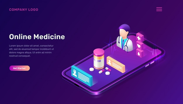 Modello web di medicina online, telemedicina Vettore gratuito
