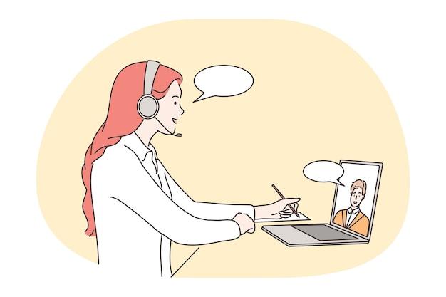 オンライン会議、コミュニケーション、遠隔作業、電話会議のコンセプト。 Premiumベクター