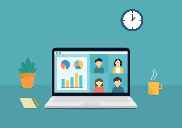 화상 회의 원격을 통한 온라인 회의 그룹 및 가정 일러스트레이션 디자인에서 작업합니다. 프리미엄 벡터