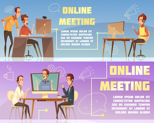 Online meeting horizontal banners set with business and work symbols cartoon isolated vector illustration Free Vector