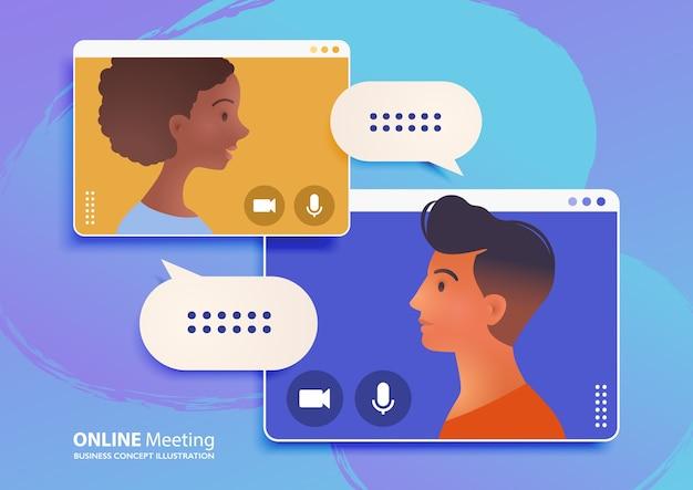 Онлайн-встреча через видеозвонок, работа из дома, иллюстрация Premium векторы