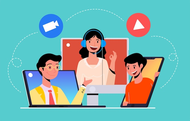 Online meeting work from home, video conference, modern flat illustration  concept for website Premium Vector