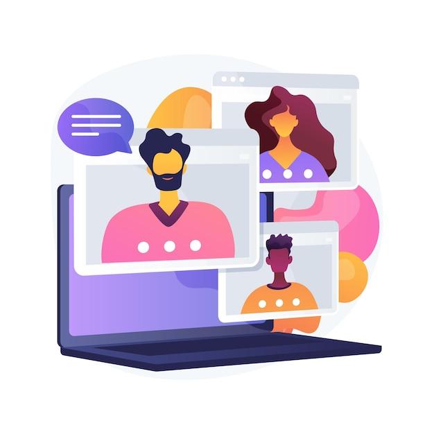 온라인 모임 추상적 인 개념 벡터 일러스트입니다. 전화 회의, 모임 그룹 가입, 화상 통화 온라인 서비스, 원격 통신, 비공식 회의, 회원 네트워킹 추상적 인 은유. 무료 벡터