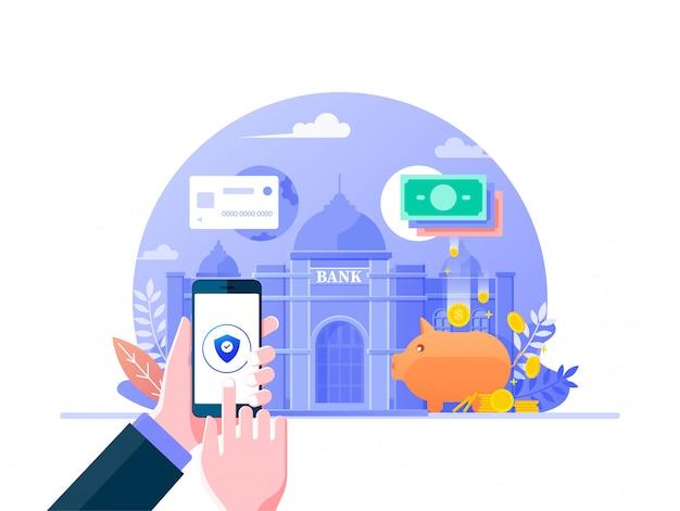 Online mobile banking flat design for web page banner. business financial management, digital bank s