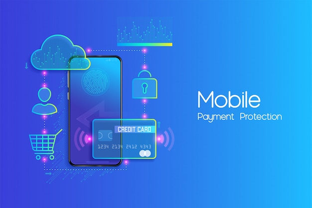 Online mobile banking and internet banking flat design concept , cashless society, security transaction via credit card and digital payment with secure system vector Premium Vector