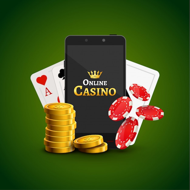 Online mobile casino background. poker app online concept. smart phone with chips, cards and coins Premium Vector