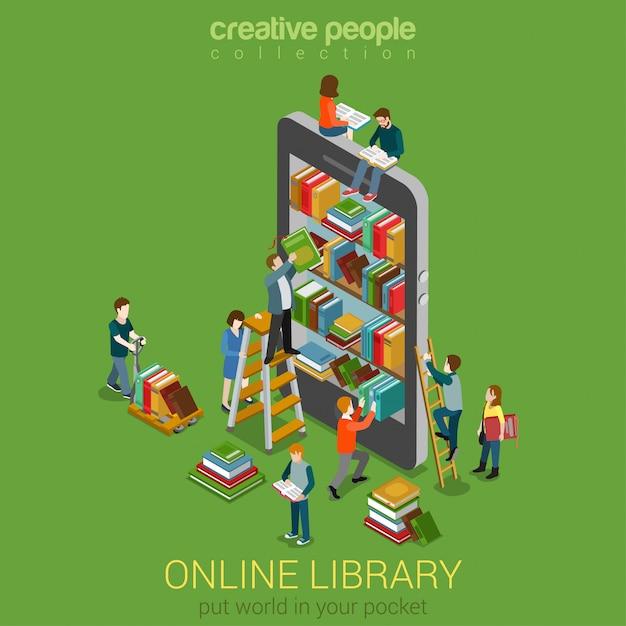 Знание онлайн мобильной библиотеки в карманной концепции библиотечные полки в планшетах для смартфонов маленькие люди на лестницах читают, снимают книги с плоской изометрией. Premium векторы