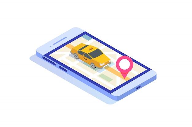 オンラインモバイルタクシーアプリ等尺性概念。 gpsルートポイントとイエローキャブ。 Premiumベクター